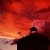 N.D. badlands_schoolhouse_sunset