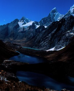 The stunning high peaks of the Cordillera Huayhuash in Peru.