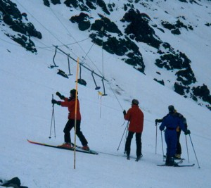 The infamous 5 person Poma at Portillo, Chile.