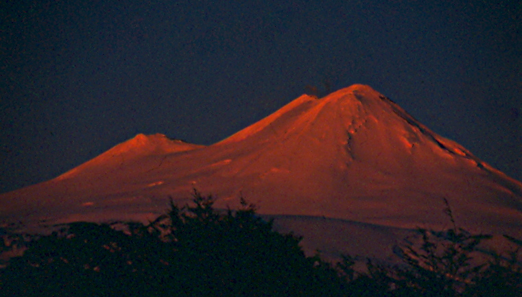 Volcan Llaima at sunset, 7000 vertical feet of perfect corn.