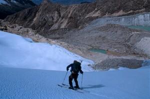 Skiing Nevado Ishinca in the Cordillera Blanco of Peru.