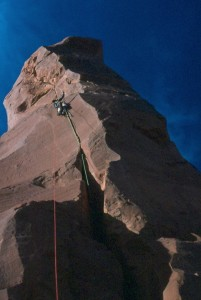 Sven on the 2nd pitch of the Totem Pole in Monument Valley