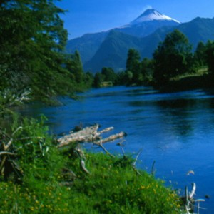 The pristine Liacura River flows past Volcan Villarica near Pucon, Chile.
