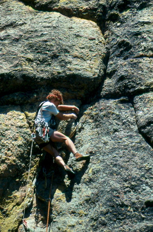 Pete Delannoy on the 1st ascent of The Crack of Earthly Delights.