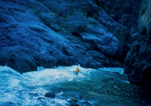 Scott Young entering a box canyon just before dusk.